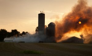 farm caught on fire